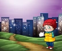 A young child across the tall buildings in the city - stock illustration