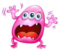 A pink monster shouting because of frustration - stock illustration