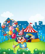 Stock Illustration of A clown at the carnival with balloons