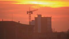 Construction crane at dusk skie Stock Footage