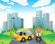 A worried owner of a car with flat tires - stock illustration