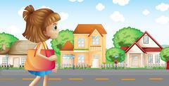 A girl walking across the neighborhood Stock Illustration