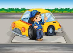 Stock Illustration of A boy reparing the damaged car