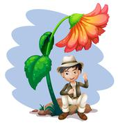 Stock Illustration of A boy sitting at the rock below a big flower