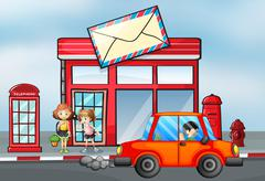 An orange car in front of the post office - stock illustration