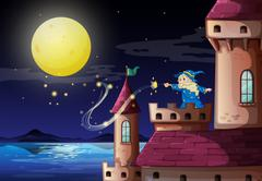 An old wizard at the castle port Stock Illustration