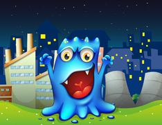 Stock Illustration of A happy blue monster in the city
