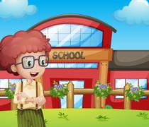 A boy with a school building at his back - stock illustration