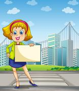 A woman at the pedestrian lane holding an empty signage - stock illustration
