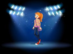 A girl with a slingbag in the middle of the stage - stock illustration