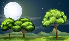 A clean and green forest under the bright fullmoon - stock illustration