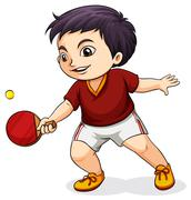 An Asian boy playing tabletennis Stock Illustration