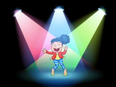 A girl dancing in the middle of the stage Stock Illustration