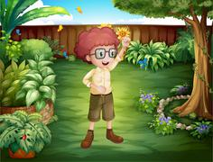 A smart looking boy at the backyard - stock illustration