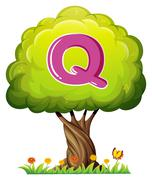 A tree with a letter Q - stock illustration