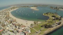Aerial Shot Flying Out of Mariners Basin in Mission Bay Stock Footage