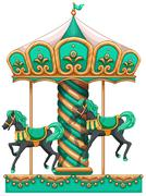 A green merry-go-round - stock illustration