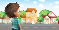 A young boy standing across the village - stock illustration