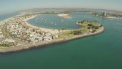 Aerial Shot Flying Out Mariners Basin in Mission Bay - stock footage