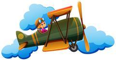 Stock Illustration of A boy on a plane