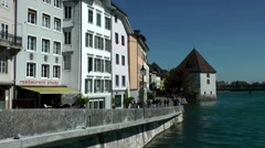 Europe Switzerland city of Solothurn 011Aare riverfront promenade Stock Footage