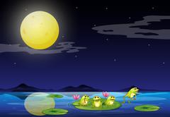 Frogs at the waterlilies in the river Stock Illustration