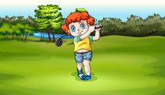 A young boy playing golf at the field - stock illustration