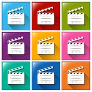 Buttons for movie directing - stock illustration