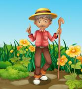 An old man with a cane standing at the garden - stock illustration