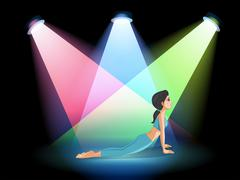 A lady exercising in the middle of the stage - stock illustration