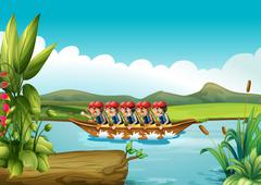A wooden boat full of men - stock illustration
