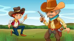 A young and an old cowboy at the hill Stock Illustration