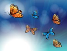 Stock Illustration of Colorful butterflies in a gradient colored stationery