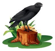 A bird above the stump - stock illustration