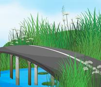 A curve road in the river Stock Illustration