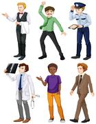 Men with different works Stock Illustration