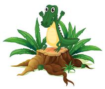Stock Illustration of A trunk with a crocodile