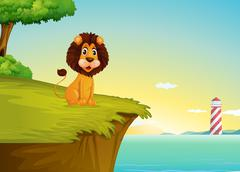 A lion sitting at the cliff overlooking the tower - stock illustration