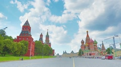 People walk near Saint Basils Cathedral on Red square Stock Footage