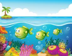 Three green piranhas under the sea Stock Illustration