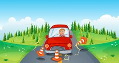 Stock Illustration of A red car at the road bumping the traffic cones