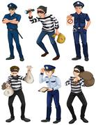 Police officers and robbers Stock Illustration