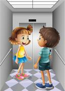 A girl and a boy talking inside the elevator Piirros