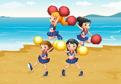 Stock Illustration of A cheering squad performing at the beach