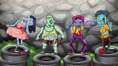 A group of zombies - stock illustration