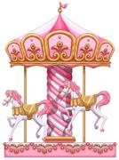 A carousel ride - stock illustration