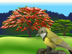 A bird at the branch of a tree - stock illustration