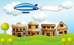 An airship above the neighborhood with a banner Stock Illustration