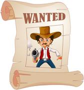 A wanted cowboy holding a gun at the poster - stock illustration