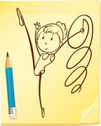 A simple drawing of a gymnast - stock illustration